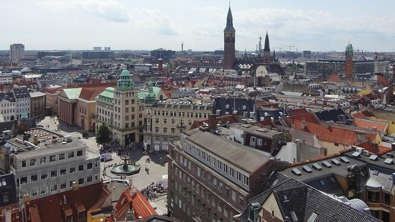 An aerial view of Copenhagen