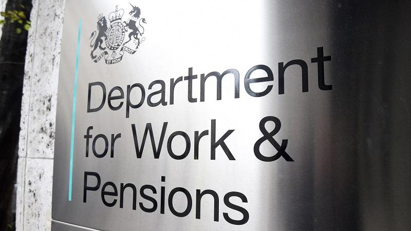 A close up of a sign on the Department for Work and Pensions head office in Westminster