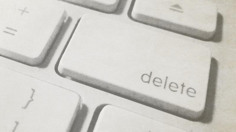A close-up of a 'delete' button on a keyboard