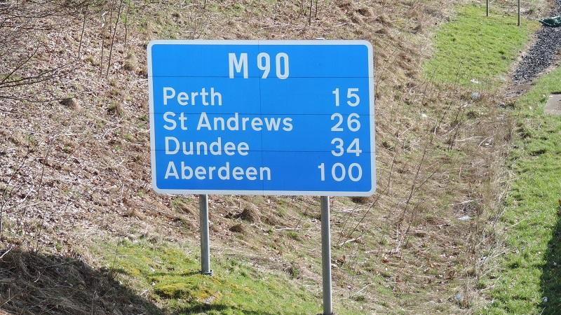 Sign on M90 motorway