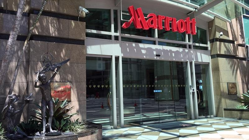 An image of the entrance of the Marriott hotel in Brisbane