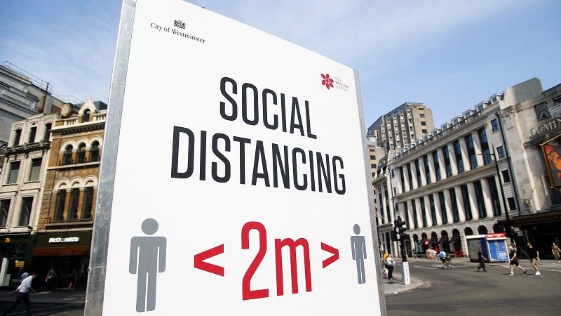 An image of a sign encouraging social distancing