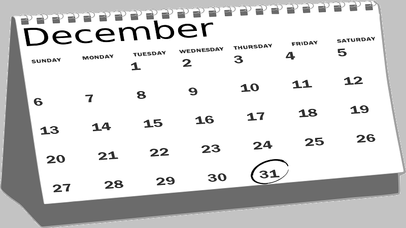 An image of a December 2020 calendar