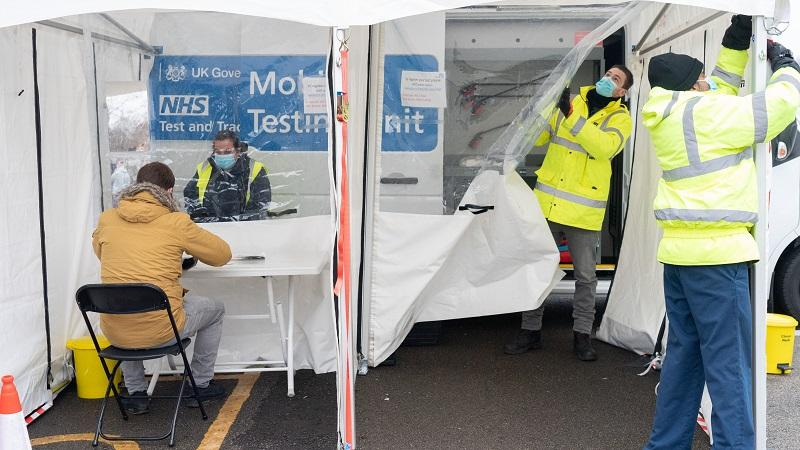 An image of a coronavirus mobile testing unit in west London