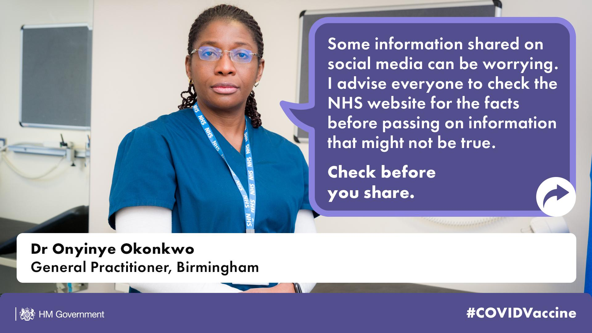 An image of a social media post featuring Birmingham GP Dr Onyinye Okonkwo, encouraging citizens to check information on vaccines before they share it