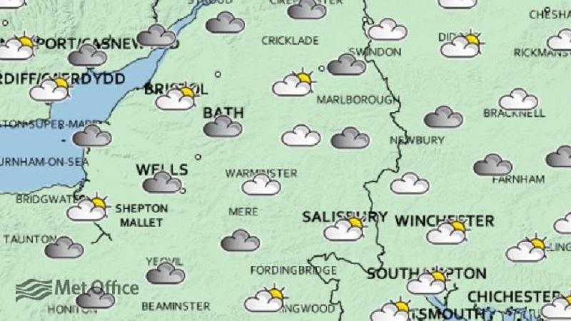 An image of a Met Office weather map for some of south west England and south Wales