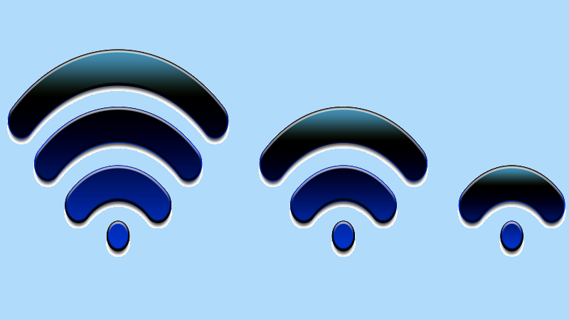 An image of WiFi signals decreasing in strengteh