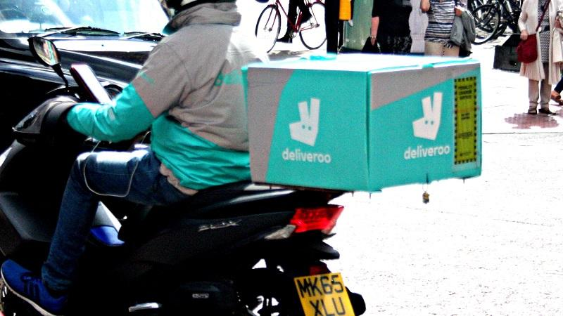 A close-up partial image of a Deliveroo delivery rider