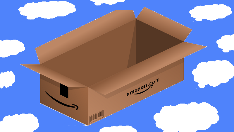 Image of an Amazon box on a background mimicking a blue sky with white clouds