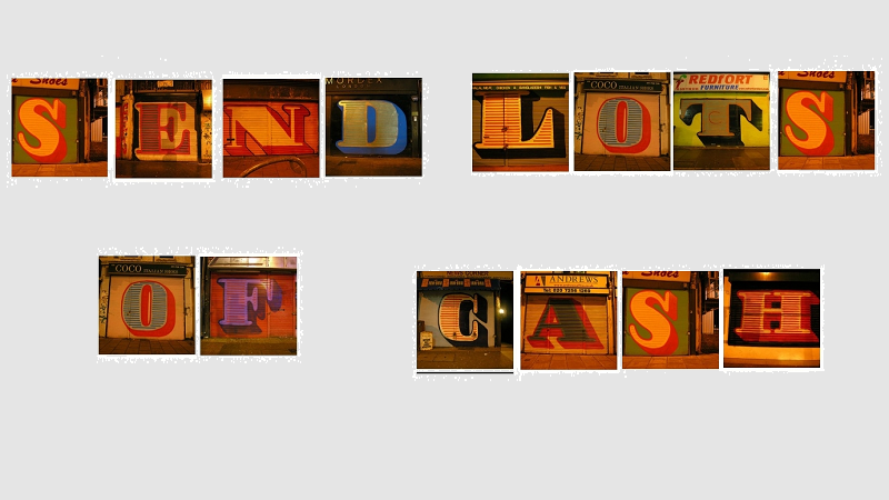 An illustration of a ransom note saying 'Send lots of cash'