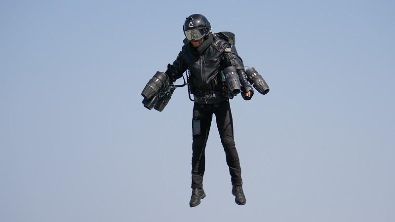 An image of Gravity founder Richard Browning using a jetsuit