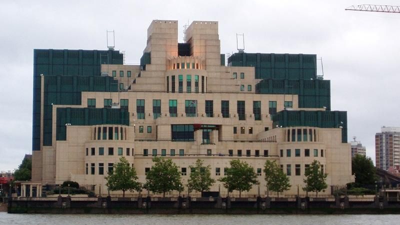 An image of the Vauxhall Cross headquarters of MI6