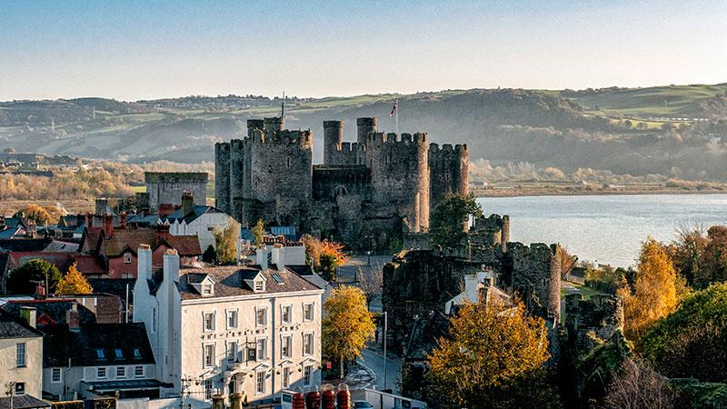 An aerial shot of Conwy Castle walls
