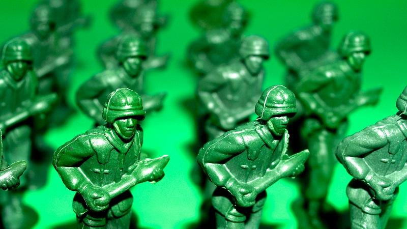 An image of toy soldiers arranged in close formation