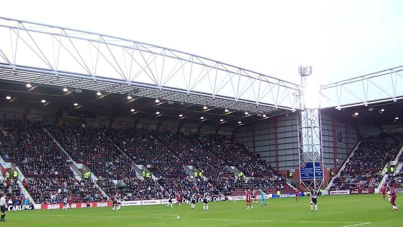 An image of full stands during a match at Heart of Midlothian's Tynecastle stadium in Edinburgh
