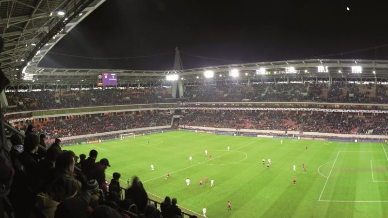 A picture of a football pitch from the stands