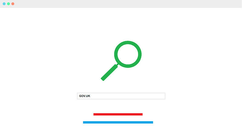 Image of a generic search engine with search term 'GOV.UK' entered