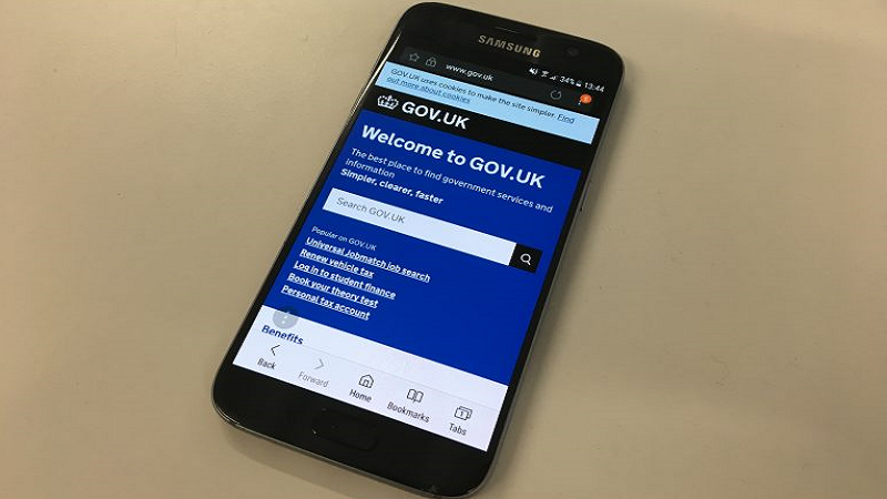 An image of a GOV.UK webpage viewed via Samsung Internet browser on a Samsung smartphone