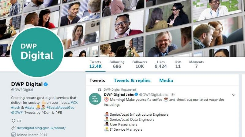 A partial screenshot image of the homepage of the @DWPDigital Twitter account