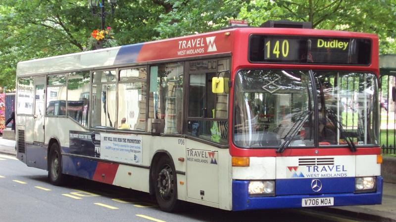An image of a bus in Birmingham on its way to Dudley