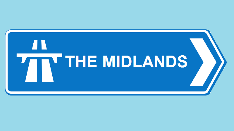 An illustration of a Motorway sign pointing towards 'The Midlands'