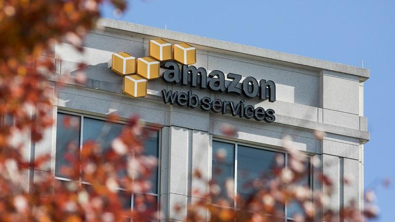 An image of an Amazon Web Services logo on the side of a building
