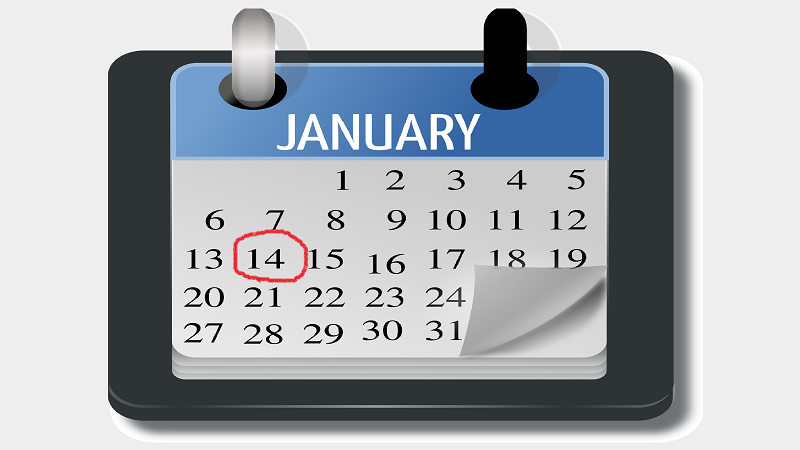 An illustration on a January calendar with the date of the 14th circled in red