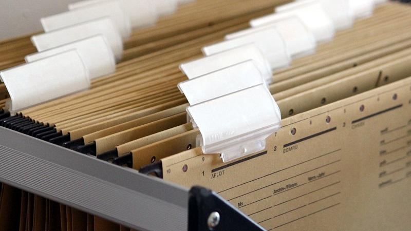 A close-up image of files in a filing cabinet