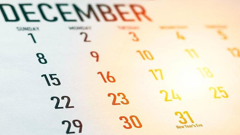 An image of a December 2019 calendar