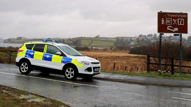 Police car in Wales countryside