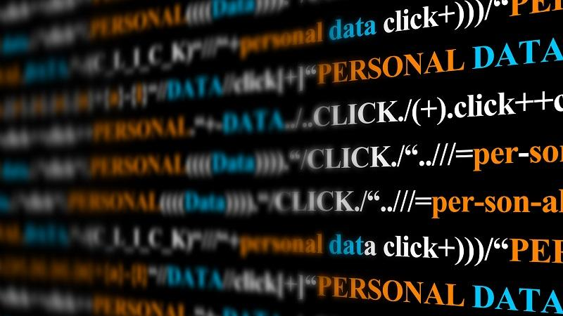 An image of computer code-style text containing the words 'Personal data'