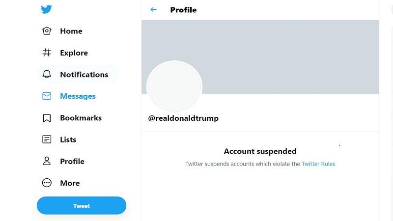 An image of former president Donald Trump's suspended Twitter account